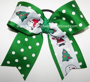 christmas santa green polka dot big cheer bow
