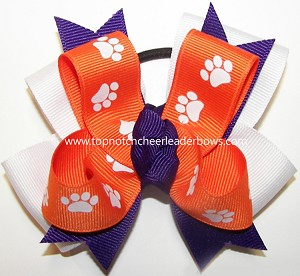 Clemson Tigers Spirit Pigtail Cheer Bow