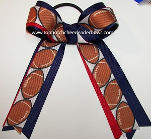Football Red Blue Ponytail Holder Bow