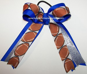 Football Blue Silver Ponytail Holder Bow
