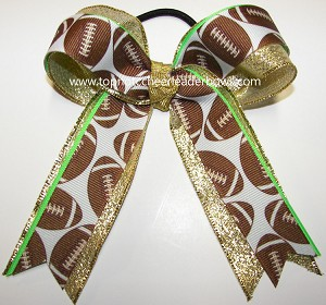 Football Ribbon Metallic Ponytail Cheer Bow
