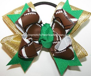 Football Ribbon Pigtail Team Spirit Bow