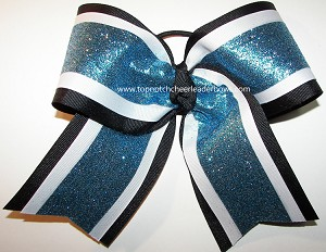 Glitter Blue White Black Big Cheer Bow