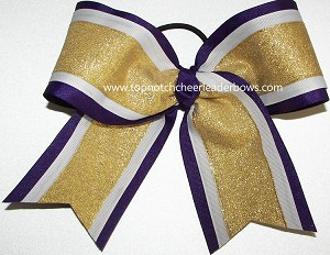 Glitter Gold White Purple Cheer Bow