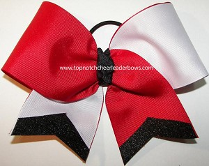 Glitter Red White Black Cheer Bow