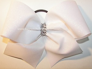 Glitter White Big Cheer Bow