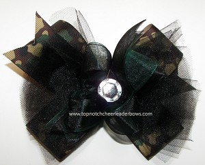 Glitzy Camouflage Green Black Tutu Hair Bow