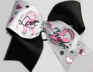 Glitzy Breast Cancer Pink Black Cheer Bow