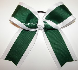 Green White Cheer Ponytail Holder Bow