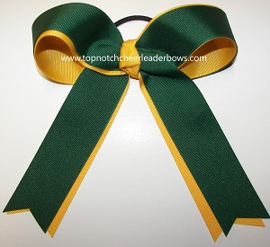 Green Yellow Gold Ponytail Holder Cheer Bow