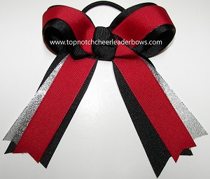 Gymnastics Red Black Silver Ponytail Bow