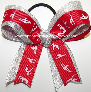Gymnastics Red Silver Ponytail Holder Bow