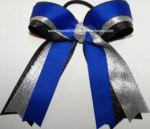 gymnastics blue silver black glitter ponytail bow