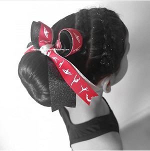 Gymnastics Red Silver Black Glitter Ponytail Bow