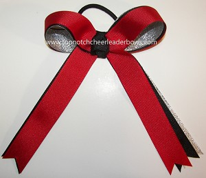Red Black Silver Ponytail Streamer Bow
