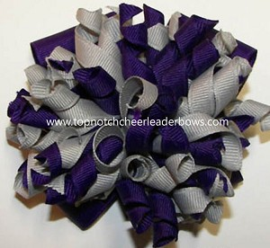 Korkers Purple Gray Cheer Hair Bow