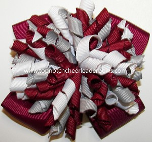 Korkers Maroon Gray White Cheer Bow