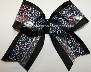 Cheetah Ribbon Multi Black Silver Big Cheer Bow
