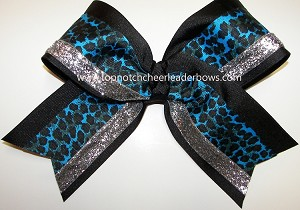Cheetah Blue Black Silver Big Cheer Bow