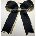 Navy Blue Gold Metallic Ponytail Bow