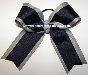 Navy Gray Cheer Ponytail Holder Bow
