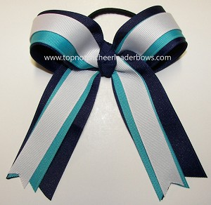 Navy Turquoise White Ponytail Holder Cheer Bow