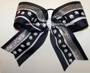 Navy Blue Paw Print Big Cheer Bow
