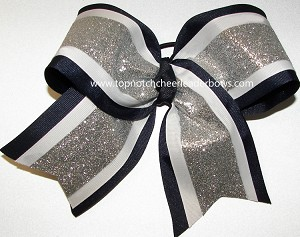 Glitter Navy Blue White Silver Big Cheer Bow
