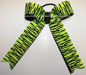Tigers Neon Green Black Ponytail Bow