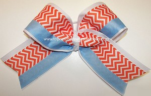 Chevron Orange White Blue Big Cheer Bow