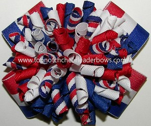 Korkers Red White Royal Blue Ponytail Holder Bow