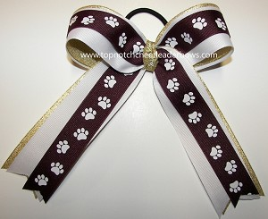 Paw Print Maroon Gold Ponytail Holder Cheer Bow