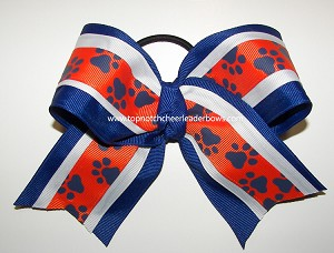 Paw Print Orange Royal Blue Big Cheer Bow