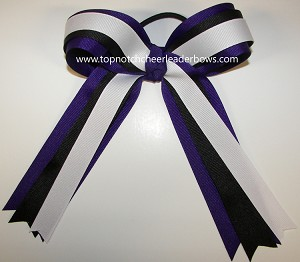 Purple Black White Ponytail Holder Bow