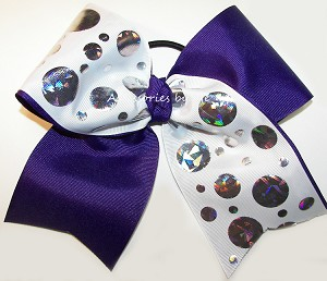 Tic Toc Purple White Foil Cheer Bow