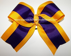 Purple Yellow Gold Big Cheer Bow