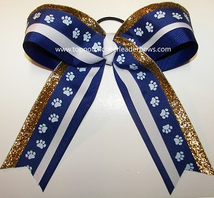 Paw Print Blue White Gold Big Cheer Bow