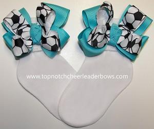 Sports Cheer Bow Socks