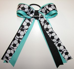Soccer Aqua Black Ponytail Holder Bow