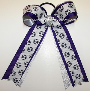 Soccer Purple Silver Ponytail Holder Bow