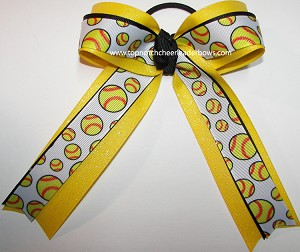 Softball Black Yellow Glitter Hair Bow