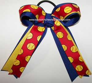Softball Glitter Red Yellow Blue Hair Bow