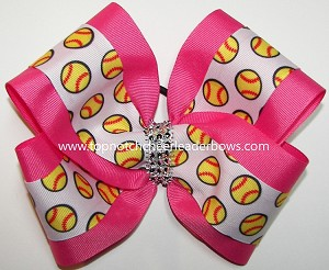 Softball Hot Pink No Tails Hair Bow