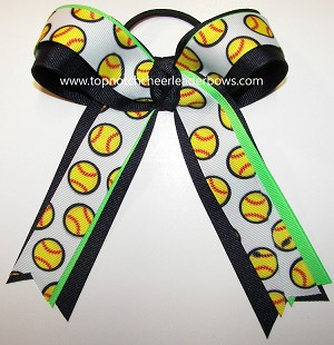 Softball Navy Neon Green Ponytail Bow