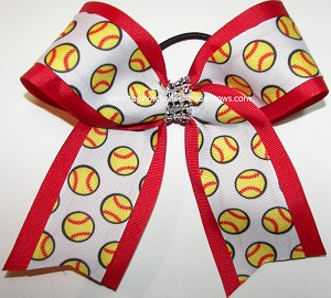 Softball Red Rhinestones Ponytail Bow