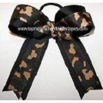 Camouflage Green Black Ponytail Bow