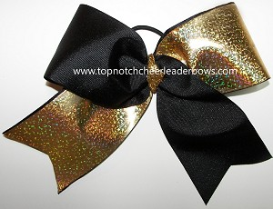 Tic Toc Black Gold Holographic Foil Big Cheer Bow
