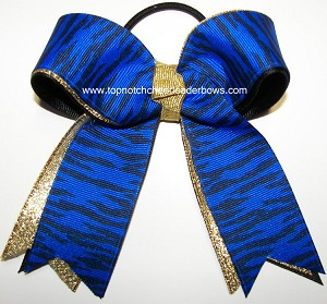 Tigers Blue Black Gold Ponytail Holder Bow