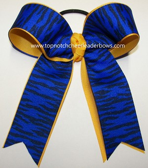 Tigers Royal Blue Yellow Gold Ponytail Holder Bow