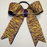 Tigers Purple Yellow Gold Ponytail Bow